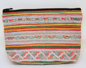 Vintage Hmong/Ethnic/Hill Tribe/Tribal/Purse/Cosmetic Pouch/Stationery Pouch/Appliqué and Embroidered Patterns Fabric Pouch/Cosmetic Bag/CP3