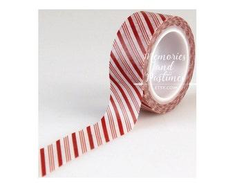Christmas Washi Tape - Candy Cane Stripe Washi Tape - I Love Christmas Collection - Echo Park - 15 ft - Scrapbooking Embellishment - 435459