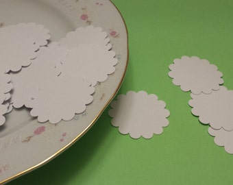 50 Scalloped Circles,  White Scallop  Circles/ Scrapbooking Die Cuts / Card Making Embellishments / Scrapbooking Supplies /ANY COLOR