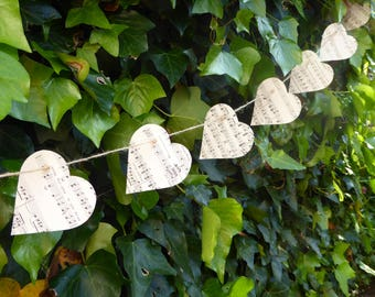 Vintage Up-cycled Sheet Music Star Bunting with Jute String