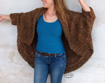 Crochet Pattern Cocoon Shrug Blanket Sweater Ruana Over Sized Wrap Rochester Collection