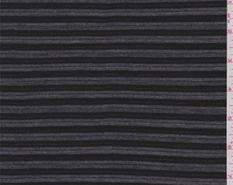 Pewter/Black Stripe Sweater Knit, Fabric By The Yard