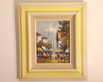 Pisani, Original Oil, European Street Scene, Vintage Gallery Frame, Original Art, Valhalla Fine Arts
