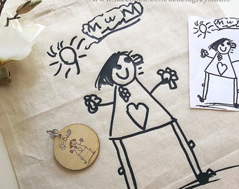 Your Kid's Artwork Designed Shopping Tote - markets, personalised gift, child's art, drawing, bag, reuse