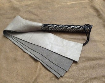 Leather Paddle Flogger with Silver Corset THD044