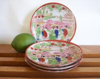 Small Geisha Girl Plates, Geisha Ware, Set of Four, Vintage Chinoiserie, Hollywood Regency Tabletop, Dessert Plates, Break Plates, Saucers