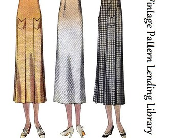 1933 Ladies Skirt With Self Pockets- Reproduction Sewing Pattern #T7368