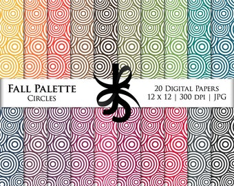 Digital Scrapbook Papers-Circles-Fall Palette-Autumn-Abstract Patterns-Backgrounds-Wallpaper-Printable-Instant Download Clipart