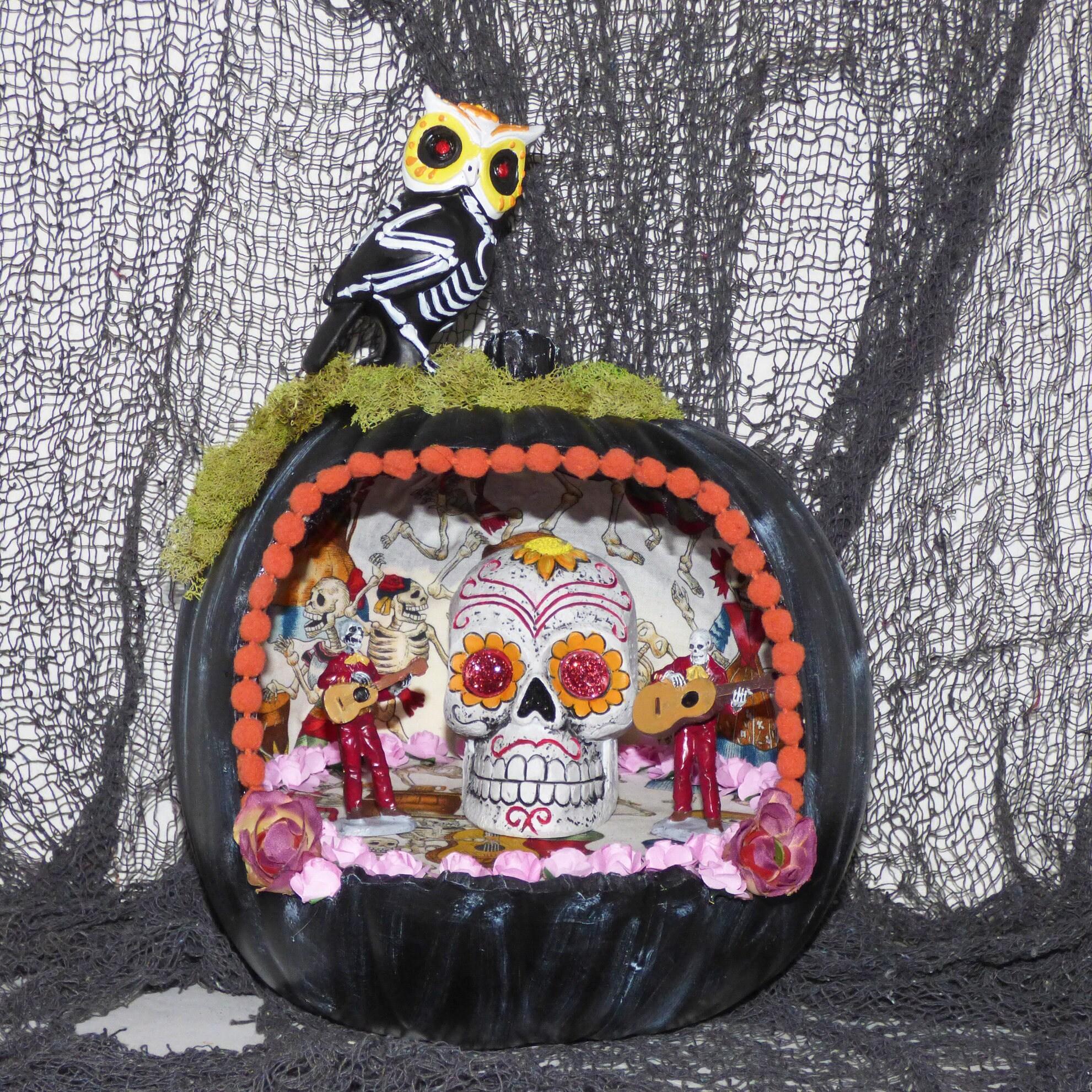 Pumpkin Diorama Day of the Dead Pumpkin Halloween Decor