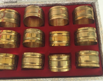 Set of 12 Vintage Brass Napkin Rings with Original Box, Estate Find