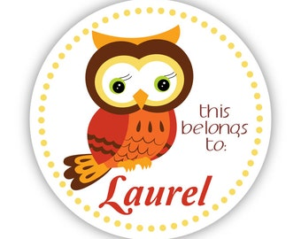 Name Tag Labels - Yellow Polka Dots, Red Fall Autumn Owl Personalized Name Label Stickers - Round Sticker Tags - Back to School Name Labels