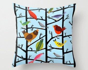"For All The Birds - Light Blue Throw Pillow / Cushion Cover (16"" x 16"") iOTA iLLUSTRATION"