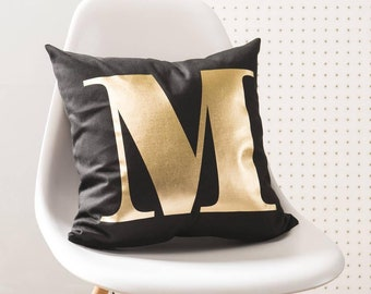 Personalised Monogram Black And Gold Cushion Pillow