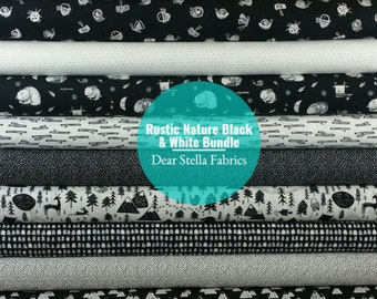 Rustic Nature Black & White Bundle from Dear Stella Fabric's Harvest Moon Collection (14 Fabrics Total)
