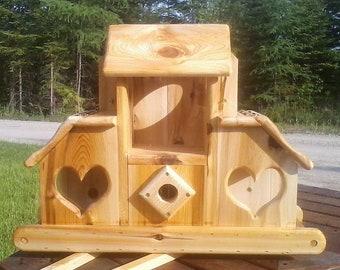 Combination bird/squirrel feeder and birdhouse all in one, Cedar wood,TBNUP