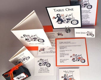 Motorbike, Biker, Harley Davidson Wedding Handmade invitations and Stationery Sample Packs