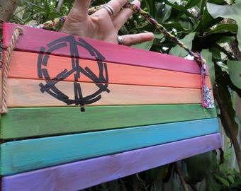 Gay flag, Rainbow stripes,E70, rainbow flag, recycled wood, lesbian, gay, LGBT, home decor, wall hanging, gay pride, rainbow art,  peace art