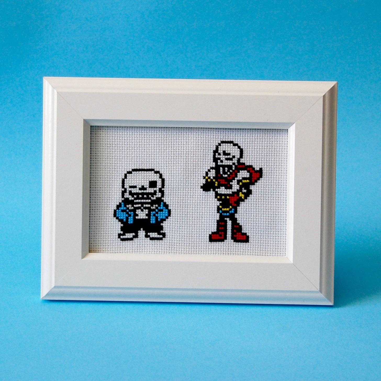 Sans  U0026 Papyrus Cross Stitch Pattern  Undertale Embroidery