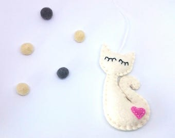 Cat lady ornament - sleepy kitty for her with pink heart - for catlovers as Christmas Housewarming felt  home decor Baby shower eco friendly