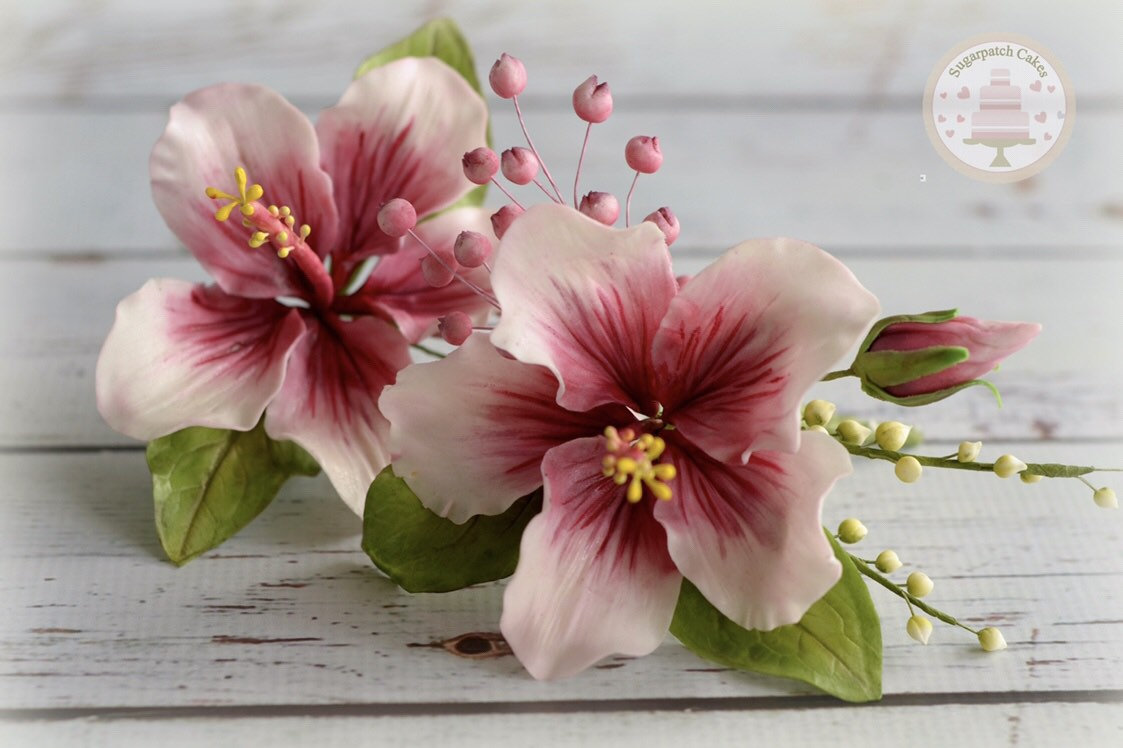 Fondant hibiscus wedding flower cake topper bridal decorations zoom izmirmasajfo