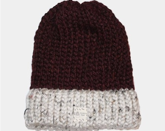Deep Maroon Cap with Speckled White Brim