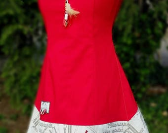 Original designer dress, fitted shape, red dress, sleeveless dress