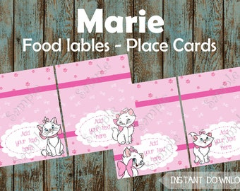 Marie Aristocats Printable Food Labels, Marie Editable Food Tent Tags, Marie Printable Place Cards, Marie Printable Birthday Party Supplies