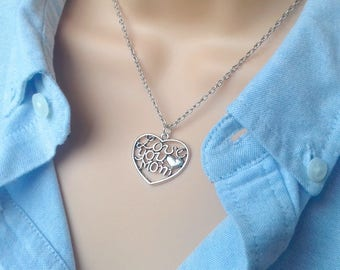 Gift for Mom | Mom Necklace | I Love You Mom | Mom Gift | Gifts for Mom | Mom Jewelry Jewellery | Silver Mothers Necklace | Mother Love