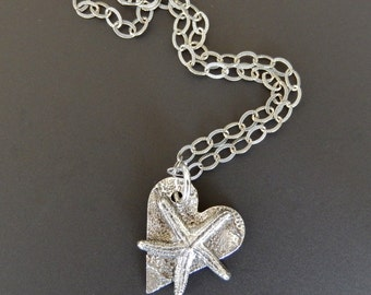 Sterling Silver Necklace Pendant Oxidized Heart with Starfish on 18 inch Etched Sterling Link Chain with Lobster Claw Clasp