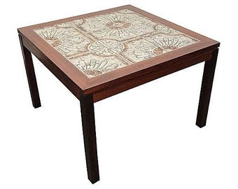 Bohemian Tile & Walnut Side Table