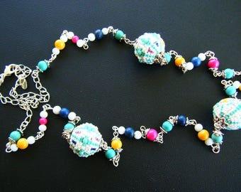 Necklace beads woven, white, turquoise, Fuchsia, Navy