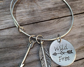 Wild and Free bracelet, Feather Bracelet, Arrow Bracelet, Charm Bangle, Charm bracelet