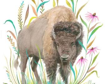 Bison Art Print | Watercolor Painting | Nursery | Prairie | Floral | 8x10 | 11x14