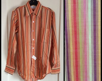 Vintage Deadstock 1970's Sunset Striped Mens dress shirt size Small Rayon