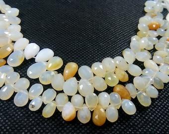 Natural Faceted Pears Peruvian Opal Semi Precious Gemstone Beads 8'' 6-10mm appx. 63.75 Ct.