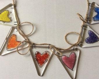 Fused Glass Bunting Rainbow Hearts Wedding Gift Garland Decoration Birthday Gift