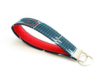Nurse Key Fob - 5 Inch Key Ring Wristlet - Loop Keyring - Cute EKG Key Strap - Short Lanyard - Keychain - Heart - Doctor