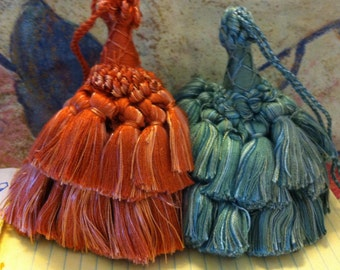 Luxurious Cotton Tassels, Made in Italy, Cotton Sheen Vintage, 4+ inches Key Tassel, Choose Teal or Brick Blend