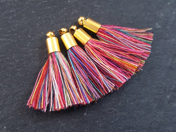 Red Pink Pastels Multi Color Mini Tassels, Tassel Charm, Earring Tassel, Multicolor Tassel, Cotton, 22k Matte Gold Plated 26mm 4pc New by Etsy