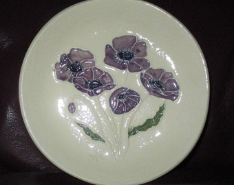 "Purple Posies Ceramic Jewelry Candy Soap Ring Keys or Trinket Dish, Made by Hand, by me   5""                                          253"