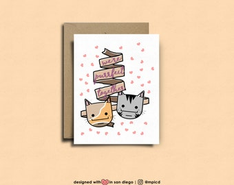 we're purrfect together    meow meow meow! valentines day, valentines card, Funny Card, Cute Card, Cat Card, Cat Lover Card