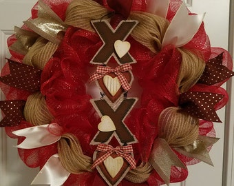 XOXO Wreath! Limited Quantities Available!!! Valentines Day, XOXO, Vday wreath, v-day