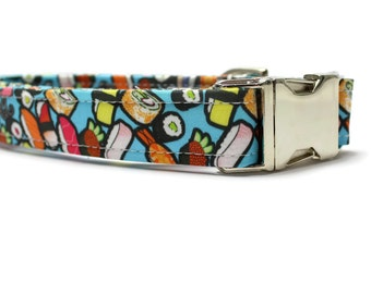 Sushi Dog Collar | Unique Dog Collar | Your choice of metal buckle or plastic buckle | Colorful Dog Collar | Whimsical Dog Collar