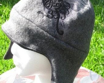 Damask Raven Gray and Black Fleece Ear Flap Hat