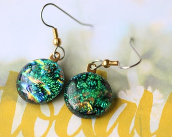 Green and Gold Dichroic Fused Glass Earrings Drop Dangle Earrings, Dichroic, 0155, GetGlassy
