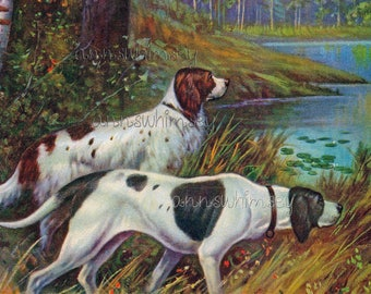 Restored Antique Art Two Hunting Dogs ALMOST On Point #545