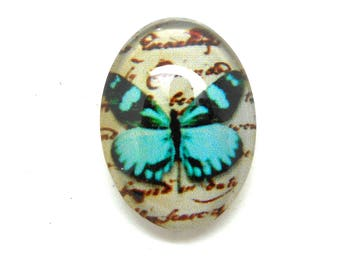 Cabochon glass turquoise Butterfly 18 x 13
