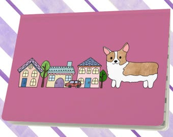 Corgi Puppy Dog Notebook Sketchbook Scrapbook Book Journal Large Pink
