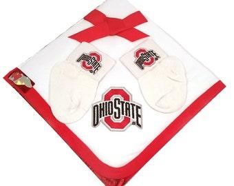 Ohio State Buckeyes Baby Receiving Blanket and Socks Gift Set