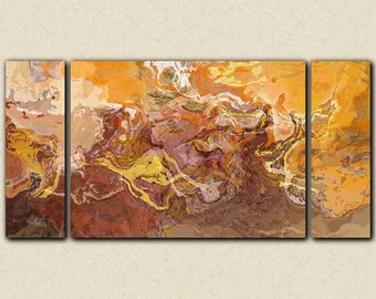 """Large contemporary triptych, 30x60 to 40x78 stretched canvas print in rust, orange and brown, from abstract painting """"Southwest Destination"""""""